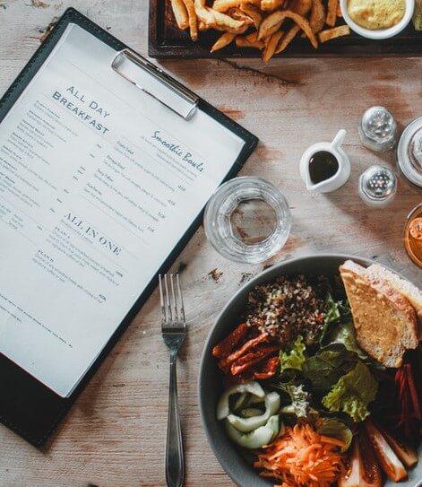 Online eten verkopen menukaart